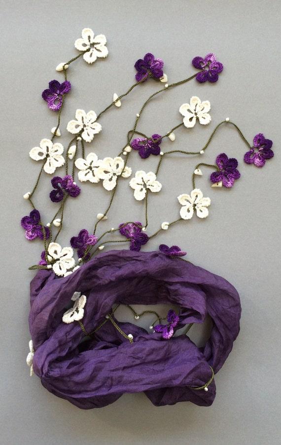 Violet Art Halskette Seide Schal Immergrün Schal Perlen