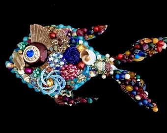 Fish - Tropical Fish Vintage Jewelry Wall Art - Fish Art - Jeweled Fish - Vintage Jewelry Art - Beach House Decor - Angie