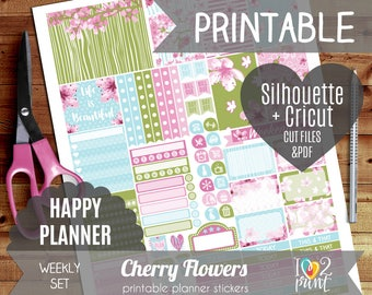 Cherry Flowers Weekly Printable Planner Stickers, Happy Planner, Weekly Stickers, Cherry Flowers Stickers, Mambi Stickers, Cut files