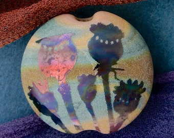 "Handmade Lampwork Focal Bead ""Poppies"" SRA Sandblasted Glass ~ Iridescent Lustre Picture Bead ~ Meadow Shades"