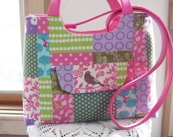Echino Linen, Birds FAUX leather purse, Bagstock Rose handbag Handmade  Handbag