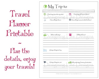 Vacation Travel Planner Printable PDF Sheets - My Trip To Anywhere