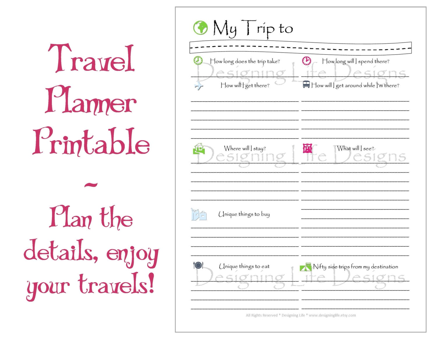 Vacation travel planner printable pdf sheets my trip to for Trip calendar planner template