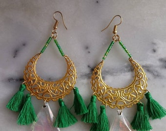 Green tassel earrings.