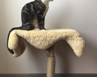 Scratching post with sheepskin bed