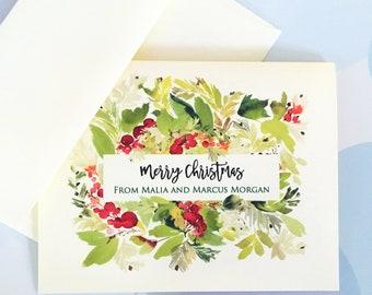 Personalized Christmas Card, Custom Holiday Cards, Set of 10 cards