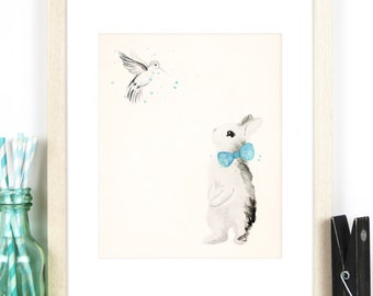 Baby Boy Nursery Art - 8x10 / A4 Print of Bunny Rabbit with Teal Blue Bow-tie and Hummingbird with Watercolour Details