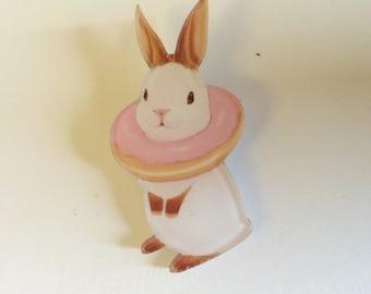 Sweet deco donut fluffy bunny rabbit kawaii harajuku brooch pin