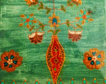 exotic Indian art with Mughal and Rajasthani motifs-lacquer finish-acrylic on 5 x 7 in. canvas