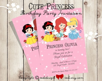 Cute Princess  Birthday Party Invitation - Printable digital file