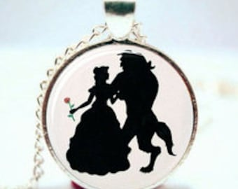 Beauty and the Beast Silhouette Necklace