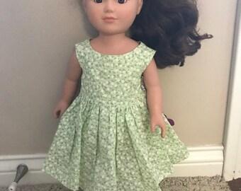 """18"""" Doll Light Green Flowered Dress"""
