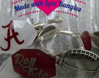 Alabama Wire Wrapped Bangle Bracelet University of Alabama Gameday Bangle Bracelet