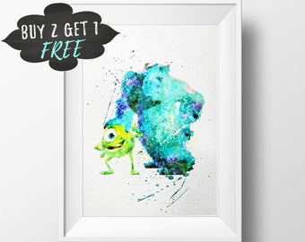 Monsters Inc Wall Art Print Poster, Boo Monsters University Nursery Watercolor Instant Download, Printable Wall Decor Girl Baby Shower Favor