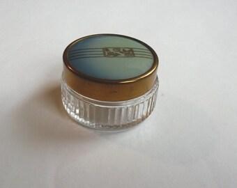 Vintage makeup jar, powder jar, cosmetics jar vintage, vintage powder jar with art deco lid, vanity decor,