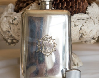 "Huge 10"" Tall Antique Monogrammed Silverplate Flask"