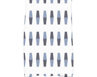 16 x 25 Inch, Bowling Pins, Geometric Print Kitchen Towel, Navy Blue