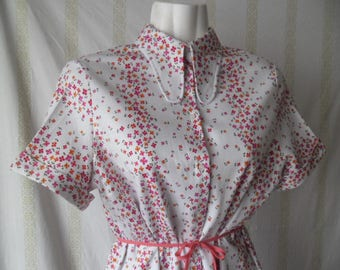 Vintage Dog Ear Collar Blouse,60s 70s Colorful Blouse,Short Sleeve Summer Blouse,Buttons Front Vintage Floral Blouse,Flower Print Shirt