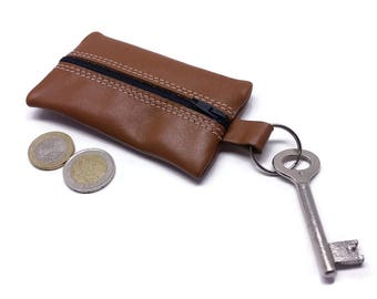 Leather Coin Purse. Leather keychain
