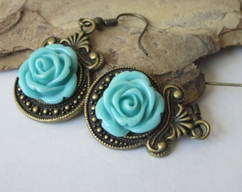 Rose Earrings, Flower Dangle Earrings, Garden Flower, Blue Rose Cabochon, Antiqued Brass, Victorian Rose Jewelry, Aqua Rose Earrings