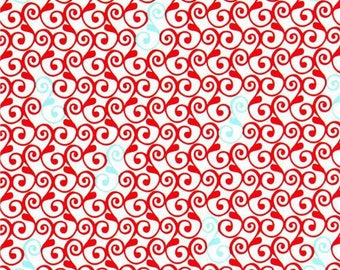 Red and white patchwork Perfectly Perched Robert KAUFMAN fabric