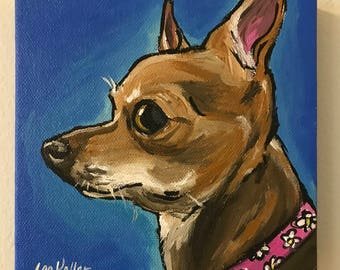 Chihuahua art print, Cute colorful chihuahua art print, chihuahua dog art canvas or paper prints, Chihuahua prints