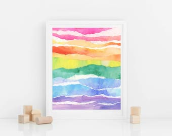 Rainbow Abstract Watercolor Print, Digital Download from Original Painting