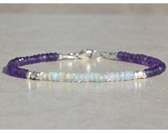 Bracelet with opal and Amethyst gemstones