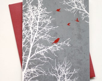 Set of 8 - Christmas Cards / Holiday Cards - Peaceful Winter Silhouette Trees and Birds with textured background