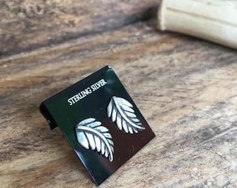 Sterling Silver Leaf Studs