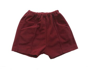 FRENCH VINTAGE 70's / kids shorts / burgundy polyamide / new old stock / size 2/3 Years