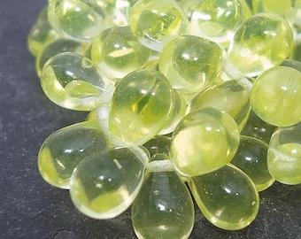 Czech Glass Beads 9 x 6mm Lemon Yellow Smooth Teardrops - 50 Pieces