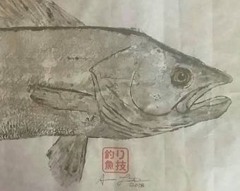 Walleye Gyotaku Fish Print