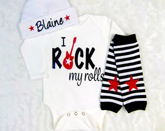 Baby Boy Gift Rock Star Baby Boy Clothing Clothes Rockstar Guitar Red Black Outfit New Baby Gift Baby Shower Gift