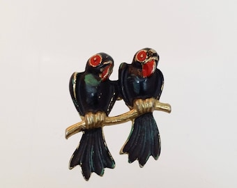 Vintage Bird Branch Brooch, 1930's Enameled Pin, Gifts for Her, Costume Jewelry, Gifts, Valentines Gift