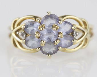 9ct Gold Amethyst and Diamond Ladies Ring Cluster Top with Purple Stones UK Size O  US 7.25