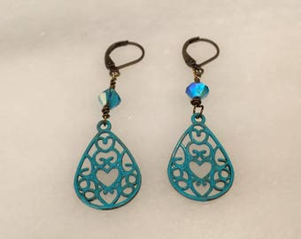 Deep Turquoise Filigree  Heart Teardrop Earrings  Bohemian Jewelry   Shabby Chic Earrings    Gift for Her