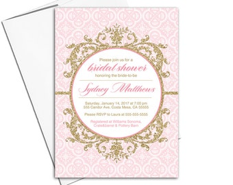 Pink and gold invitations | wedding shower invites | bridal shower invites | printable or printed bridal shower invitation - WLP00680