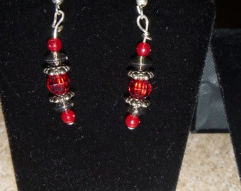 Black and Red Bracelet and Earrings
