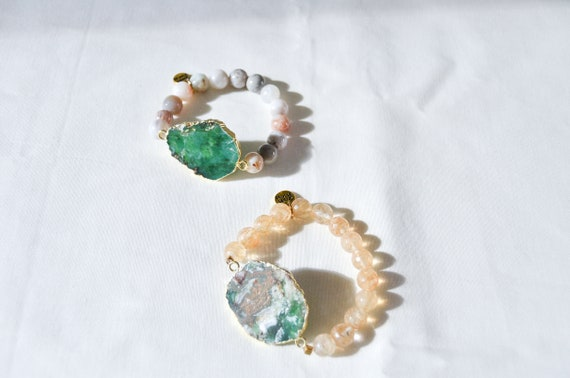 Green Jade Agate and Citrine bracelets