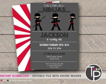 NINJA INVITATION, Instant Download Ninja Party Invitation, NINJA Invitation, Ninja Party, Ninja Printable, Editable Ninja Invitation