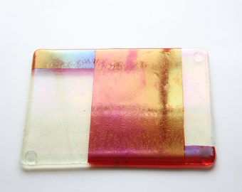 Fused Glass Cheese Plate, Platter, Serving Plate, Iridescent Gold and Red, Tableware, Tray, Minimalist, Demo, Discounted, StudioAtPennyLane