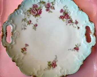 Pretty In Pink-Limoges AK CD France Handled Cake Plate 1900-1910