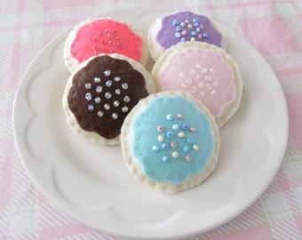 Felt Cookies with Sprinkles ,Tea Party Set of 5 Cookies