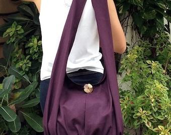 Handbags Canvas Bag Shoulder bag Sling bag Hobo bag Boho  bag Messenger bag Tote bag Crossbody Purse  Dark Purple