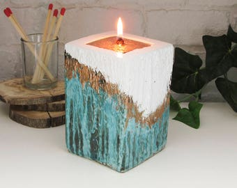 Oil Candle - IVORY cement base - White with Copper verdigris patina, woodgrain texture and engraved copper Inset