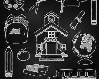 Chalkboard School Clipart Clip Art, Chalk Board Teacher Clipart Clip Art Vectors - Commercial and Personal Use