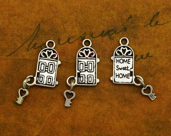 10PCS--30x14mm Door with key Charms Antique Silver sweet home Charm pendant & Door charm   Etsy