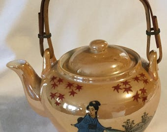 Vintage Lusterware Hand Painted Lady & Landscape Teapot with Strainer
