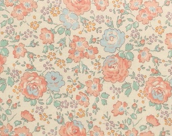 Liberty tana lawn printed in Japan - Felicite - Salmon mint mix